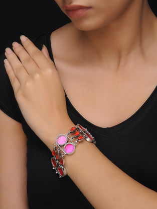 Red-Pink Glass Silver Bracelet