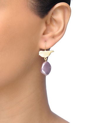 Purple Gold-plated Brass Baroque Pearl Earrings With Bird Design