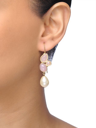 Pink Gold-plated Brass Earrings with Pearl