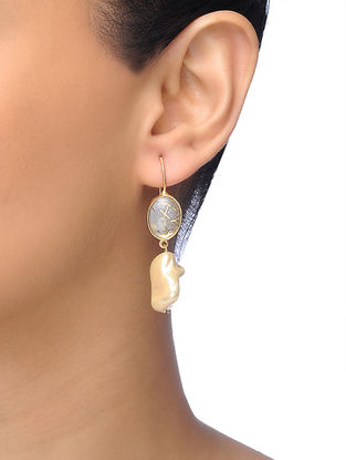 Golden Gold-plated Brass Baroque Pearl Earrings
