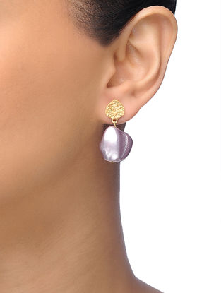 Purple Gold-plated Brass Baroque Pearl Earrings