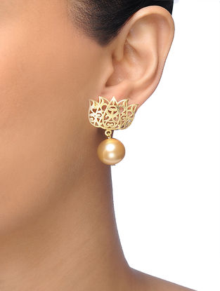 Golden Gold-plated Brass Pearl Earrings With Lotus Design
