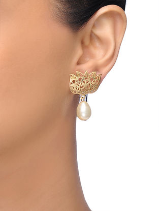 White Gold-plated Brass Pearl Earrings With Lotus Design