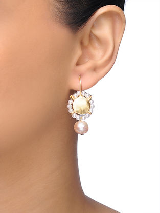 Golden Gold-plated Brass Earrings With Pearl Beads