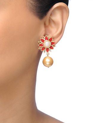 Red Gold-plated Brass Earrings With Pearl