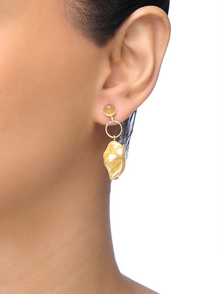 Golden Gold-plated Brass Earrings With Pearl