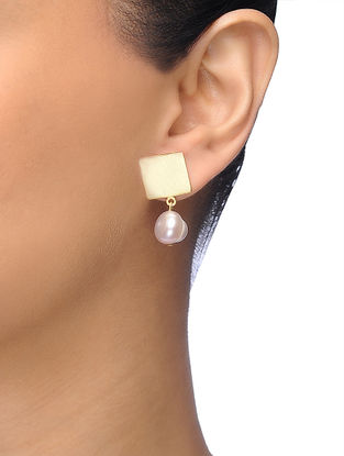 Pink Gold-plated Brass Pearl Earrings