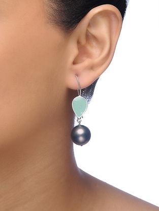 Green-Grey Silver Tone Brass Earrings with Pearl