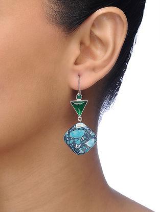 Onyx Silver Tone Brass Earrings