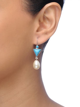 Turquoise Silver Tone Brass Earrings with Pearl