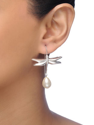 White Silver Tone Brass Pearl Earrings with Dragonfly Motif