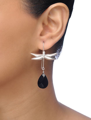 Black Silver Tone Brass Earrings with Dragonfly Design