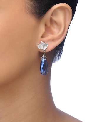 Blue Silver Tone Brass Earrings with Lotus Design
