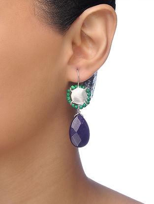Purple-Green Silver Tone Brass Beaded Earrings