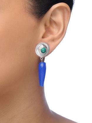 Blue-Green Silver Tone Brass Earrings