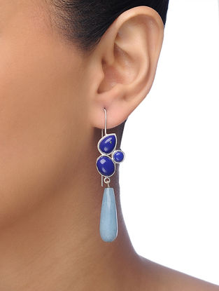 Blue Gold-plated Brass Earrings