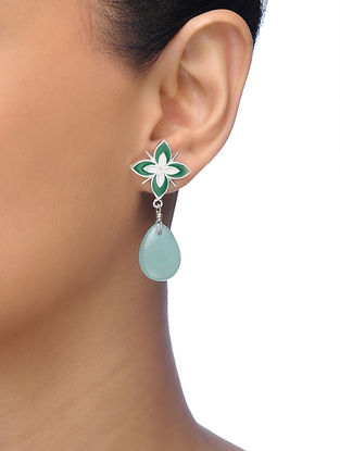 Green Silver Tone Brass Earrings with Floral Design
