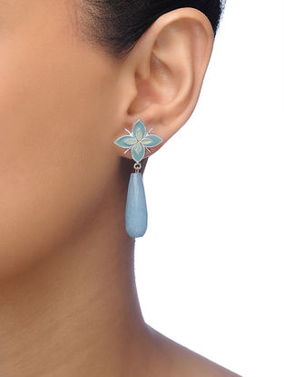 Blue Silver Tone Brass Earrings with Floral Design