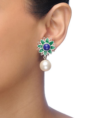 Green-Blue Silver Tone Brass Earrings with Pearl