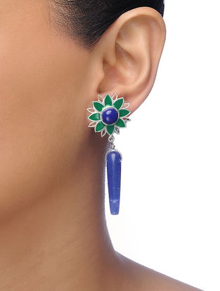 Green-Blue Silver Tone Brass Earrings with Floral Design