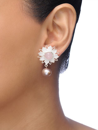 White-Pink Silver Tone Brass Earrings with Pearl
