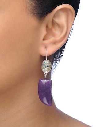 Purple Silver Tone Brass Earrings