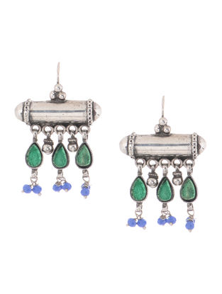 Green-Blue Glass Silver Earrings