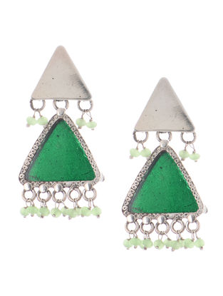 Green Enameled Silver Earrings