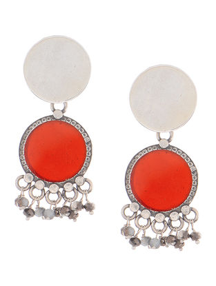 Red Enameled Silver Earrings