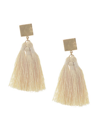 Off-White Gold Tone Brass Earrings with Tassel