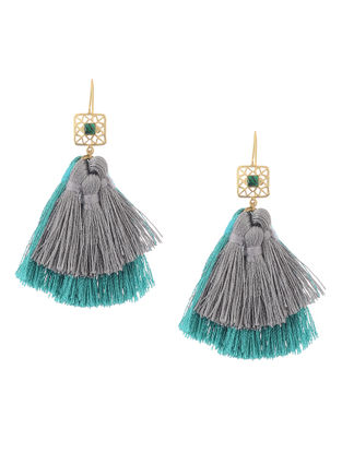 Blue-Grey Gold Tone Brass Earrings with Tassel