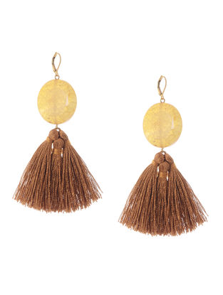 Yellow-Brown Gold Tone Brass Earrings with Tassel