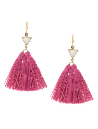 White-Pink Gold Tone Brass Earrings with Tassel