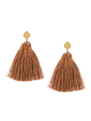 Brown Gold Tone Brass Earrings with Tassel