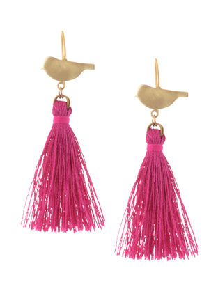 Pink Gold Tone Brass Earrings with Tassel
