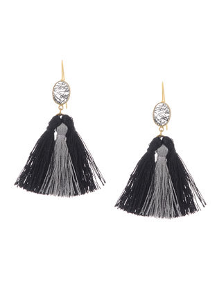 Black-Grey Gold Tone Brass Earrings with Tassel