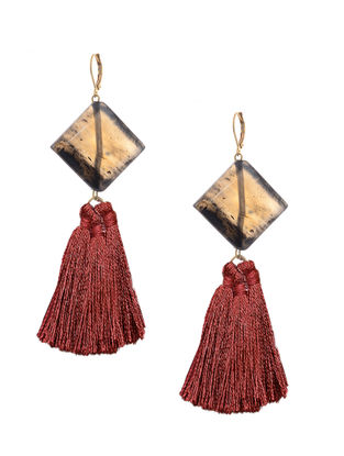 Black-Red Gold Tone Brass Earrings with Tassel