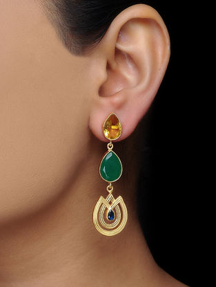 Yellow-Green Gold Tone Brass Earrings