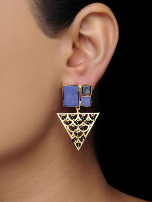 Blue-Black Gold Tone Brass Earrings