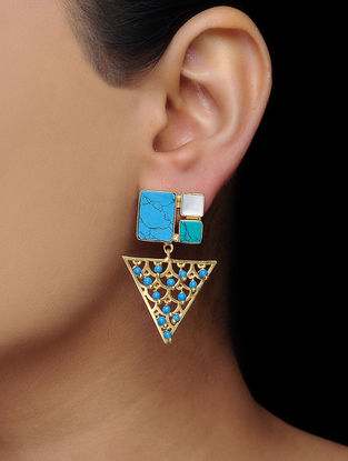 Turquoise-White Gold Tone Brass Earrings