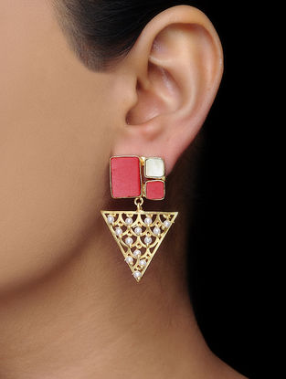 Red-Brown Gold Tone Brass Earrings