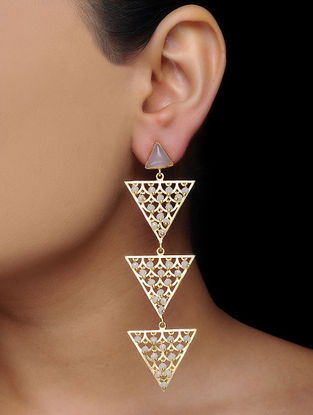 Pink Gold Tone Brass Earrings