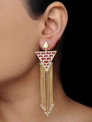Red-White Gold Tone Brass Earrings