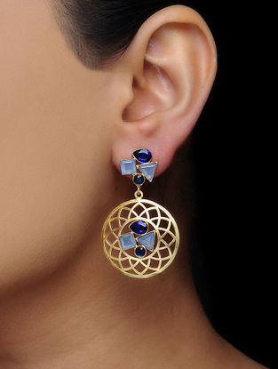 Blue Gold Tone Brass Earrings