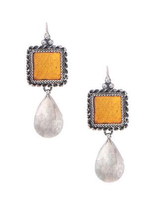 Orange Enameled Glass Silver Earrings