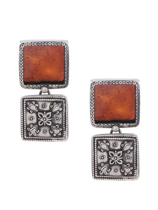 Rust Enameled Glass Silver Earrings with Floral Motif