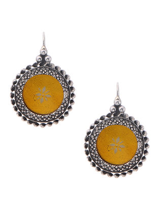 Yellow Enameled Glass Silver Earrings
