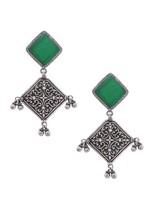 Green Enameled Glass Silver Earrings