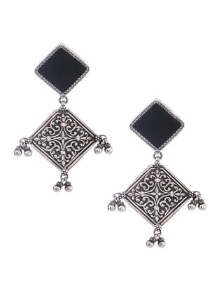 Black Enameled Glass Silver Earrings