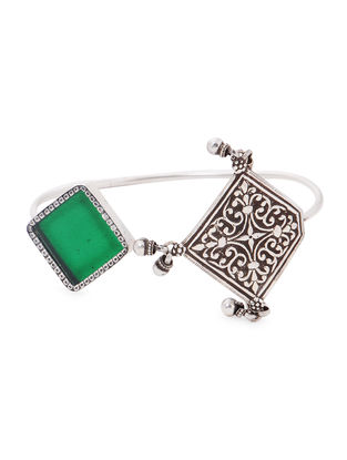 Green Enameled Glass Silver Cuff